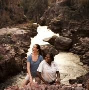 Tess Atie with visitor above Tolmer Falls