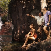 Tess Atie with couple at Florence Falls