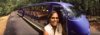 Aboriginal wildlife guide Tess Atie and her train at the Territory Wildlife Park
