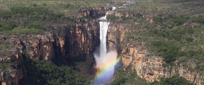 Aerial Jim Jim Falls in wet season, Kakadu National Park